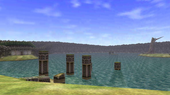 Unfortunately, we only have old photo's of Lake Hylia on file - this one shows off its sparse beauty.