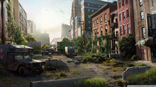 Nature is taking back the city - like Enslaved or I Am Legend.