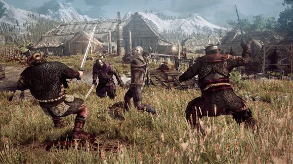 the_witcher_3_wild_hunt_geralt_fighting_multiple_opponents_in_a_village_in_skellige
